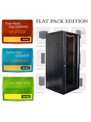 TOWEREZ ®  FLAT PACK - 18U Wall Mounted Server Cabinet 600 (W) x 600 (D)x 1000 (H) Glass Front Door Black