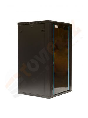 TOWEREZ ® 22U Wall Mounted Server Cabinet 600 (W) x 450 (D)x 1200 (H) Glass Front Door Black
