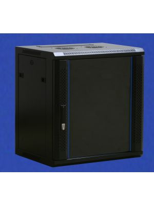 TOWEREZ ® FLAT PACK - 6U Wall Mounted Server Cabinet 600 (W) x 450 (D)x 368 (H) Glass Front Door Black